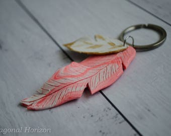 Pink marble feather keychain with hint of Gold