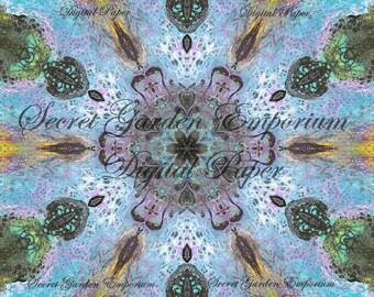 Digital Paper #18 - Original Scrapbook, Decorative Paper, with a Psychedelic Kaleidoscope  Pattern