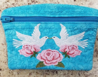 Dove and Roses change/cash/card purse