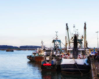 Fishing boats at home in Brixham harbour. UK 10x8