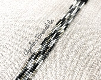 White Black Grey and Silver Miyuki Bracelet / Beaded Bracelet / Boho Style / Miyuki Bead Bracelet / Miyuki Delica
