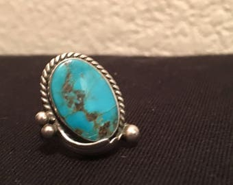 Navajo Made Stirling and Turquoise Ring