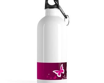 Pink Butterfly Stainless Steel Water Bottle By City Gear And Merch