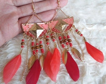 Peach & Red Feather Dangle Earrings