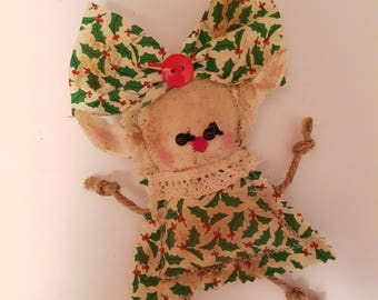 "Grungy Elf ""Holly"" Rag Doll made with love"