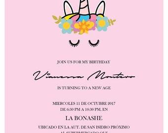 Cute Unicorn Invitation / Unicorn Birthday Invite