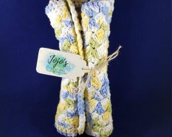 Crochet washcloths, kitchen dishcloths, light blue and yellow, Crochet facecloth, handmade,