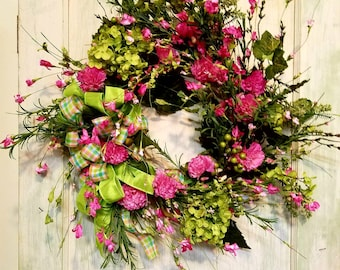 Spring wreath, pink wreath, hydrangea wreath, flower wreath,  bright green wreath,  plaid wreath,berry wreath,front door wreath,home decor