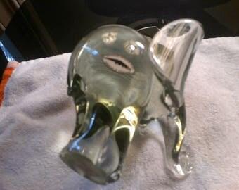 Handmade Nguenya Recycled Solid Glass Elephant Figurine Made in Swaziland