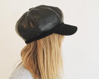 Leather Newsboy Cap, Vintage Newsboy Hat, Newsboy Cap, Vintage Leather Cap, Vintage Leather Hat