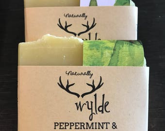 PEPPERMINT & WINTERGREEN handcrafted all natural soap.