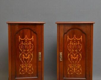 SN4163 Pair of Edwardian mahogany bedside cabinets