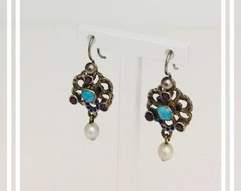 Circa 1920 Austro-Hungarian Silver Earrings