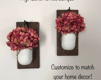 Mason Jar Sconce/Lighted Sconce/Hanging Mason Jar Sconce/Rustic Home Decor/Farmhouse Decor