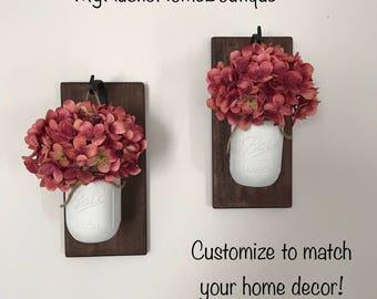 Mason Jar Sconce/Lighted Sconce/Hanging Mason Jar Sconce/Rustic Home Decor/Farmhouse Decor