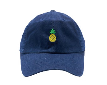 Pineapple Dad Hat / Custom Embroidered Hats / Embroidery Baseball Cap / Navy Dad Cap / FREE SHIPPING
