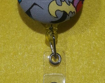 Batgirl fabric superhero ID Badge Reel / Retractable ID Badge Holder