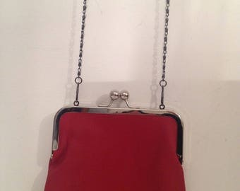 Leather Evening Bag in Red