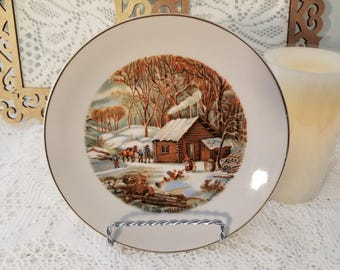 """Currier & Ives """"Home in the Wilderness"""" collector's plate"""