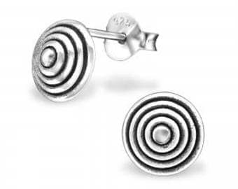 Silver Stud Earrings Domed Spiral