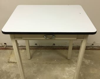 White porcelain enamel top Utility table with drawer for kitchen