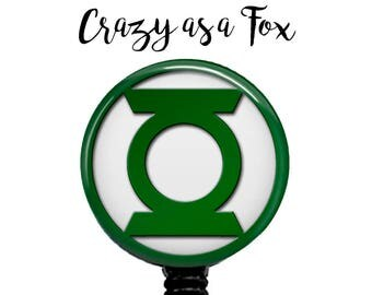 The Green Lantern Retractable Badge Holder, Badge Reel, Lanyard, Stethoscope ID Tag, doctor, md, pa, cna  Nurse, rn, teacher, student  Gift