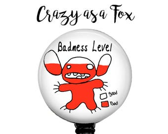 Lilo and Stitch  Badness Level Retractable Badge Holder, Badge Reel, Lanyard, Stethoscope ID Tag, Nurse, RN, MD, Student  Gift