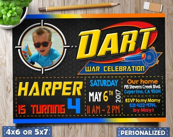 Dart Invitation,Dart Wars Birthday Invitation,Dart Party Invite,Dart Boy invitation, Dart invitation with photo, Dart favor tags, Dart