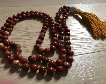 Japamala 108 grains in red Jasper