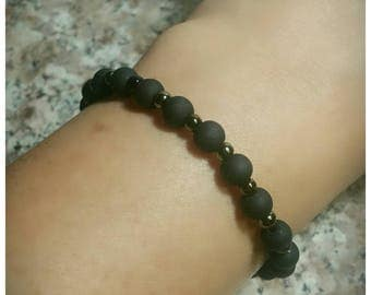 Matte Black Glass bead bracelet