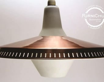 """MCM Large """"UFO"""" Copper & Frosted Glass Light"""