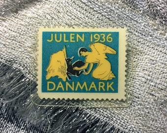 Handmade vintage Denmark stamp brooch