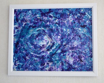 Whirlpool - An Original Acrylic Dip Abstract Painting Framed 23x 28cms Turquoise Blue, Purple, White, & Silver
