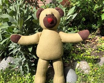 Classic Patchwork Teddy Bear, Khaki