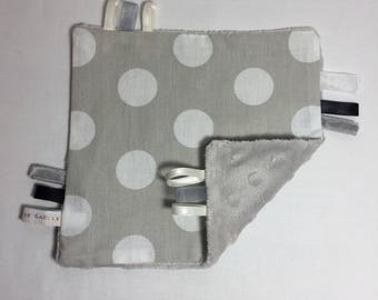 Beige and white polka dots and beige minky taggy blanket