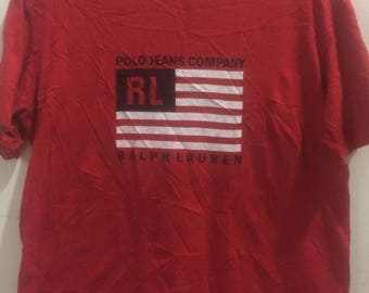 Vintage POLO JEANS Company Ralph Lauren Big Logo Spell Out Tee Shirt Medium Size
