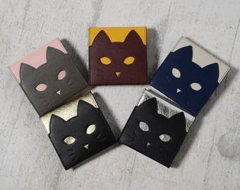 Chigracci/Cat Wallet Yellow/cat wallet/thin stylish purse/made in Japan/book leather/realleather/yellow