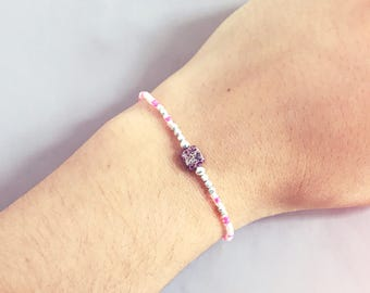 Pink Jasper Miyuki beaded bracelet with silver beads