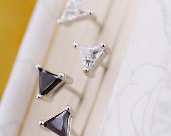 Earring combination suit,White Zircon & Black Agate triangular Earrings,Jewelry  Dangle Earrings ,Wedding Jewelry,Bridal Earrings