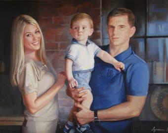 Commission family portrait Commission portrait Family portrait from photo Custom oil portrait Personalized portrait oil portrait on canvas
