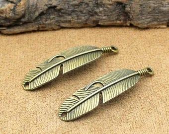 15pcs Antique Bronze Feather Charms Pendant 46x11mm C0730-T