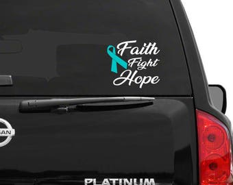 cancer fundraiser, cancer ribbon decal, cancer decal, cancer car decal, support cancer decal, faith fight hope