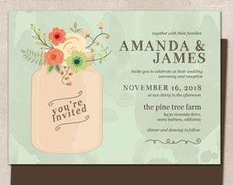 Wedding Invitation, Wedding Invitation with Matching RSVP and Other Information Card, Traditional Wedding Invitation, Mason Jar Wedding Inv