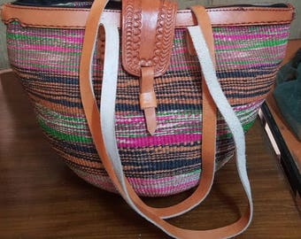 Fine Weave Sisal leather finished bag (kiondo)