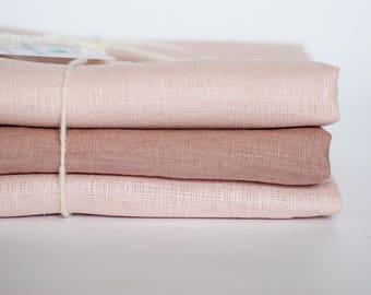 Cream remnants, blush pink craps bundle, fabric remnants, linen fabric, pastel linen, sewing patchwork scrapbooking textile art