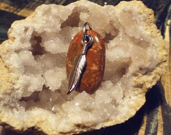 Mary ellen jasper with feather pendant