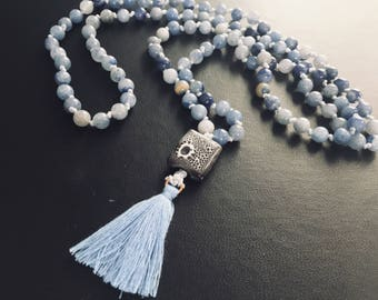 Blue Aventurine Hand Knotted Ceramic Mala with Tassel