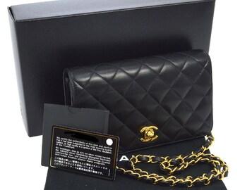 CHANEL. Paris.Vintage Quilted CC Logos Single Chain Shoulder Bag Black Lambskin Leather