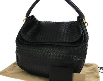 Bottega Veneta. Mint Vintage Black Handcrafted Intrecciato Shoulderbag