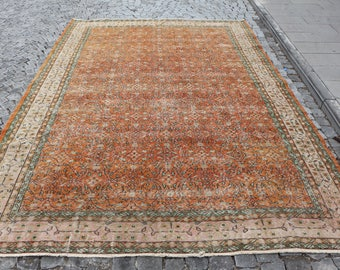 Unique large size turkish rug Free Shipping floor rug 7.2 x 11.2 ft. natural dyed flowery design area rug bohemian rug aztec rug MB369